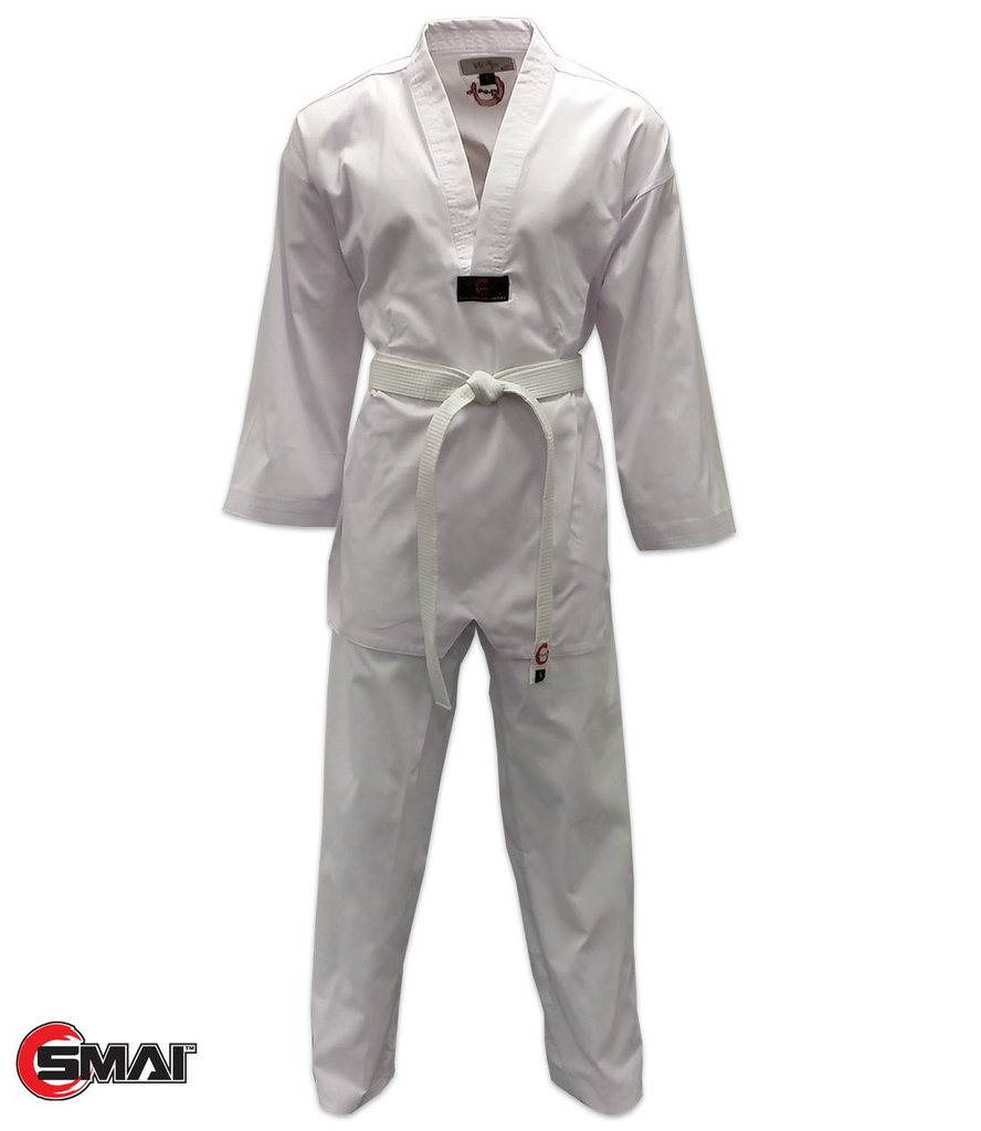 Taekwondo Uniform - Ribbed (White V-Neck)